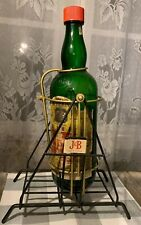 Vintage J&B Scotch Large Display Bottle in Wrought Iron Swing Cradle RARE! Label
