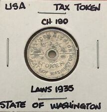 1935 ~ WASHINGTON STATE ~ CH180 ~ TAX ON PURCHASE TOKEN FOR 10 CENTS OR LESS
