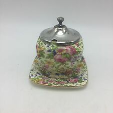 Chintz Royal Winton England Summertime Rheims Jam Pot Lid Underplate 1930's
