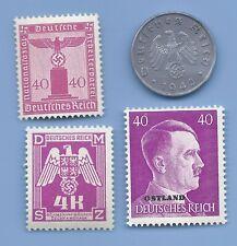 Germany Third Reich 1942 A 10 Rpf Swastika Coin & Hitler WW2 ERA Stamp Lot #15