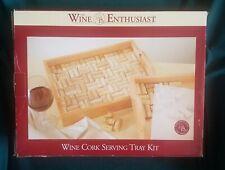 Wine Enthusiast Mahogany Wood Wine Cork Serving Tray Kit Brown