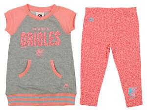 Majestic MLB Toddlers Baltimore Orioles Cheer Loud Shirt & Leggings Set