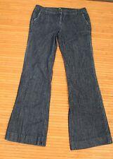 Womens J Crew Dark Denim Straight Wide Leg Flare Jeans Size 4 style #68304