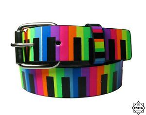 NEON PIANO KEYS BELT  RAINBOW Leather Waist Belts 80's Fancy Dress Party Gift UK