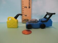 Playmobil accessories BLUE LAWN MOWER ON 4 WHEELS + GREEN GAS CAN W/ NOZZLE