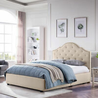 Gentry Contemporary Button-Tufted Camelback Queen Bed Frame with Nailhead Trim