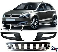 NEW VW POLO 6R 2009-2014 FRONT BUMPER LOWER CENTER GRILL AND FOG LIGHT TRIMS SET