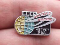 Vintage badge pin Soviet space program,Spaceship Vostok-3-4,USSR