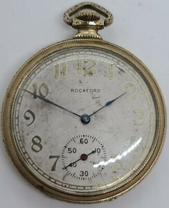 Antique Working 1911 ROCKFORD Art Deco Gents 15J Gold G.F. Pocket Watch 12s