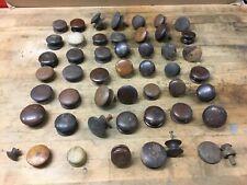 🔥 Mixed Lot 40+ Antique Vintage Round Dark Wood Knobs Drawer Cabinet Pulls🔥