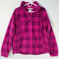 COLUMBIA Womens Large Pink Plaid Full Zip Fleece Jacket