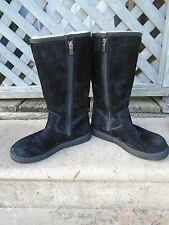 Women's UGG Australia Black Suede Leather Sheepskin Lined Boots Size 7 M