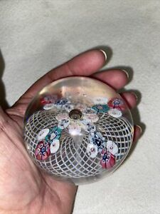 ANTIQUE LACE RIBBON MILLEFIORI GLASS PAPERWEIGHT