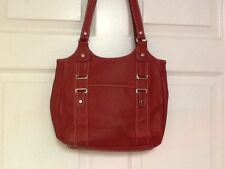 Purse shoulder strap handbag red pebbled material medium  H14