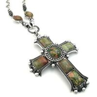 Mens Womens Vintage Lord's Prayer Large Gothic Cross Pendant Necklace Chain