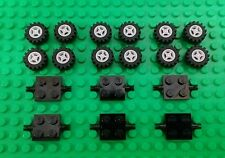 *NEW* Lego Bulk Wheels Small Grey Rims Black Tyres Tires Axles Cars Pack