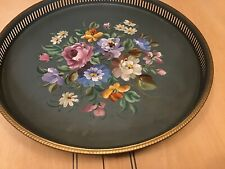 """Rare Signed VTG Round Metal Lazy Susan Tray Hand Painted Flowers Nashco Prod 15"""""""