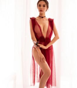 Nuisette robe bordeaux mi longue mesh transparent finition crochet sexy rétro