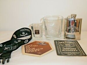 2 Jack Daniels Old No 7 Glasses 1 Stainless Steel Flask 1 Lanyard 3 Card Coaster
