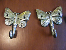 """set of 2 Butterfly wall hooks hangers 3"""" x 3 1/4"""" gold finish decorative metal"""