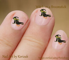 Witch Riding a Broomstick  24 Unique Designer Nail Art Stickers