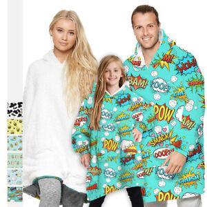 Unisex Adult Kids Cartoon Print Oversized Giant Hoodie Blanket Hooded Sweatshirt