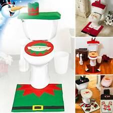 3pcs Christmas Xmas Bathroom Toilet Seat Cover Mat Santa Snowman Home Decor New