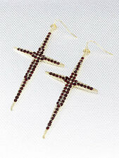 "3."" Long Large Gold and Red Rhinestone Cross Dangle Earrings"