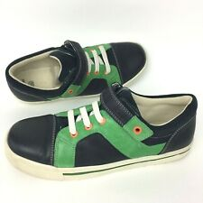 Boys Clarks Shoes Navy Green Real Leather Hook Loop Everyday Sneaker Size 5.5 F
