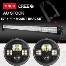 """52"""" LED Light Bar + 7"""" Driving Lamps Mount Bracket For 2007-2017 Jeep Wrangler"""