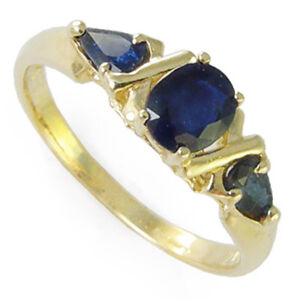 Ceylon Sapphire Three Stone Ring 14k Mother's ring  4 to  9.5