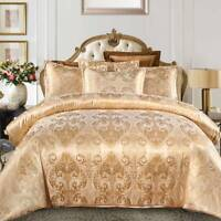 Luxury Jacquard Duvet Quilt Covers Satin Bedding Set Single Double King Size UK