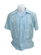 Vintage Merida Mens Button Down Leisure Shirt Polyester Blend Blue 15-15-1/2