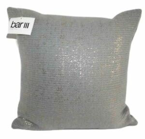 BAR III Metallic Print Knit Decorative Pillow 16 x 16 Gray