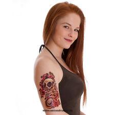 Tattoo `Skull` Temporary Einmal  - Roses - Freedom Scull - Uhr - Totenkopf Fake