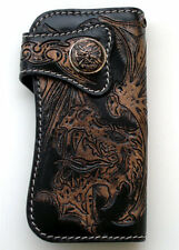 RIDER DRAGON CARVED TATTOO BLACK GENUINE LEATHER BIKER LONG WALLET REAL NEW ROCK