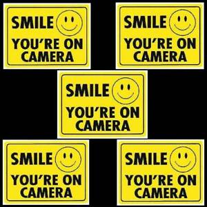 HOME SECURITY SMILE VIDEO CAMERAS ARE IN USE WARNING WINDOW STICKER DECALS SIGN