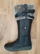 Geox, Women ,black Leather Winter Boots, Size Euro 40 Uk 6.5