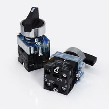 1PCS 220V 22MM Momentary On/Off/On Rotary Switch 3 Positions Black 2NO