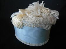 VINTAGE but NEW Box Container Lace Pearls Ribbon Tassel BLUE  NEW