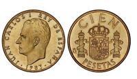 ESPAÑA 100 pesetas 1983 S/C Flor de Lis Arriba  MUY RARA Rey Juan Carlos I