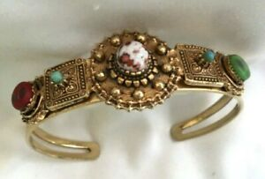 Vintage Florenza  Bracelet  Signed Gold Tone  Cuff Victorian Style Glass Stones