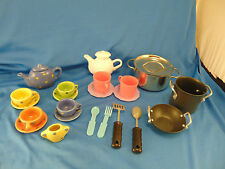 Vintage tea set ceramic 23 pcs metal pot plastic tea pot wok stock utencils play