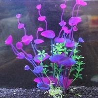 Plante Artificielle Herbe Violet Aquatique Ornement pour Aquarium Décor 21 cm