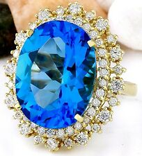 18.42CTW NATURAL BLUE TOPAZ AND DIAMOND RING IN 14K YELLOW GOLD