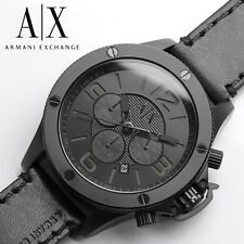 new + box men's ARMANI EXCHANGE AX1508 Black Leather Band Chrono A/X WATCH