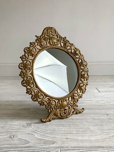 Antique Iron Art JM29 Gold Vanity Table Mirror; Cast Iron Art Nouveau   /s