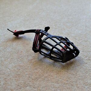 Black & Red Ancol Dog Puppy Basket Style Plastic Muzzle (Size 2)