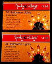Halloween string lights - indoor/outdoor - orange bulbs - 2 boxes of 70 - NIB