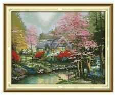 STREAMSIDE COTTAGE COUNTED CROSS STITCH KIT 14 COUNT AIDA 44x35CM